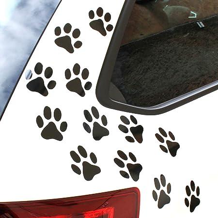 Finest Folia 12er Set Hundepfoten Je 6x6 Cm Pfoten Pfötchen Hund Katze Aufkleber Sticker Für Auto Motorrad Wand Laptop Möbel K015 Schwarz Glanz Auto