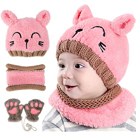 GIKPAL Niños Bebe Sombrero y Bufanda, Invierno Bebé Beanie Bufandas Set Tejido Gorro Punto Caps Sombreros Bufanda de Punto Cuello Redondo