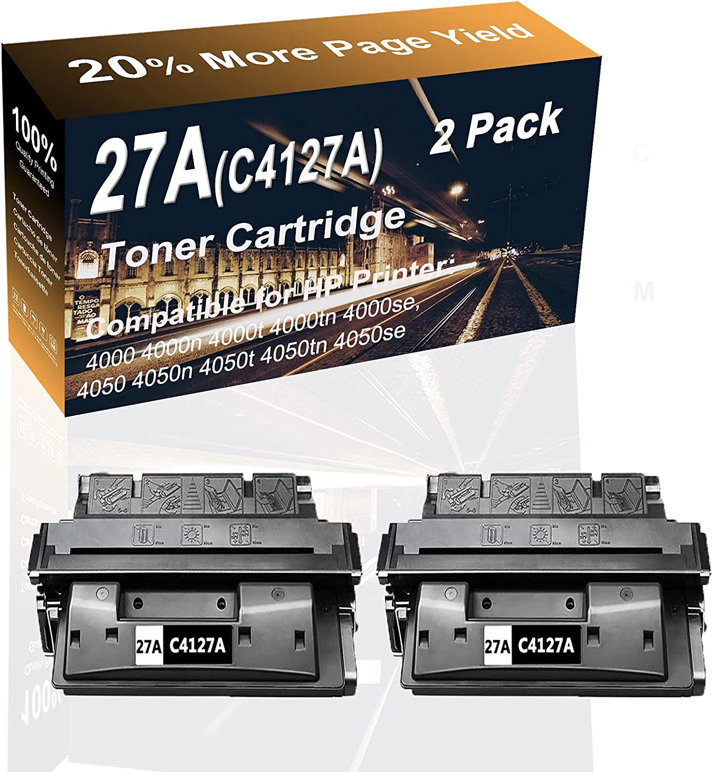 2-Pack (Black) Compatible High Capacity 27A (C4127A) Laser Printer Toner Cartridge use for HP 4000, 4000n, 4000t, 4000tn Printer