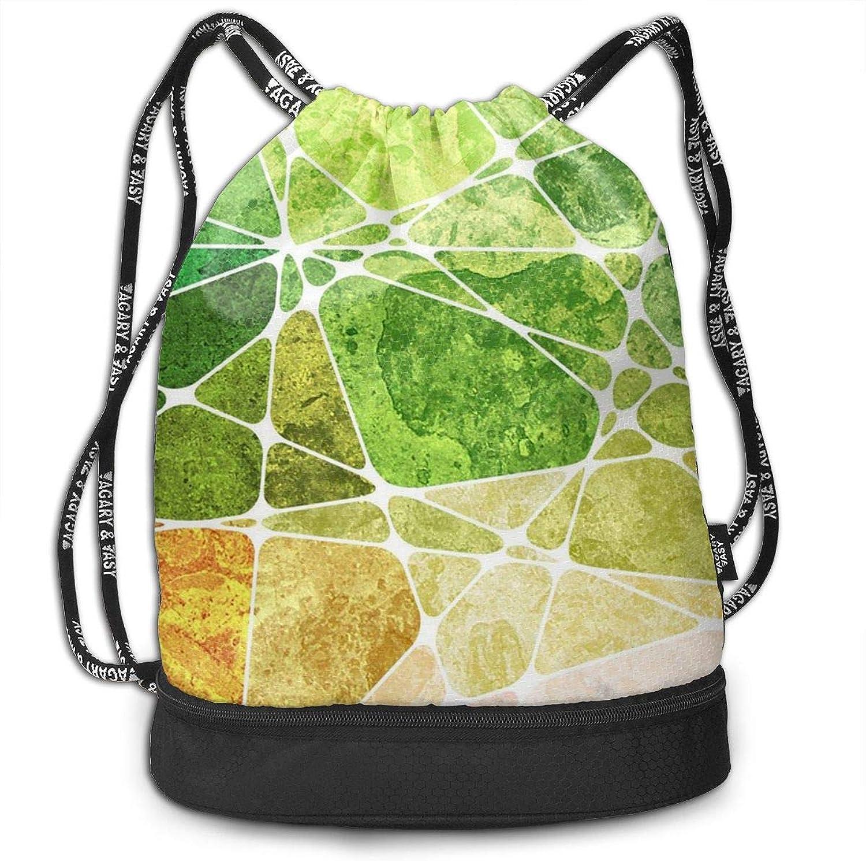 Gymsack Geometric Cube Print Drawstring Bags  Simple Hiking Sack