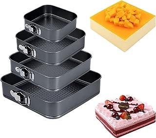 juehu Lot de 4 Moule à Gâteau Moule a cake a charniere Réglable Moule à gâteau Amovible Anti-adhésif Leakproof Réglable L'...