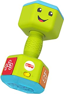 Fisher-Price Laugh & Learn Countin' Reps Dumbbell rattle toy with music, lights and learning content for baby and toddler ...