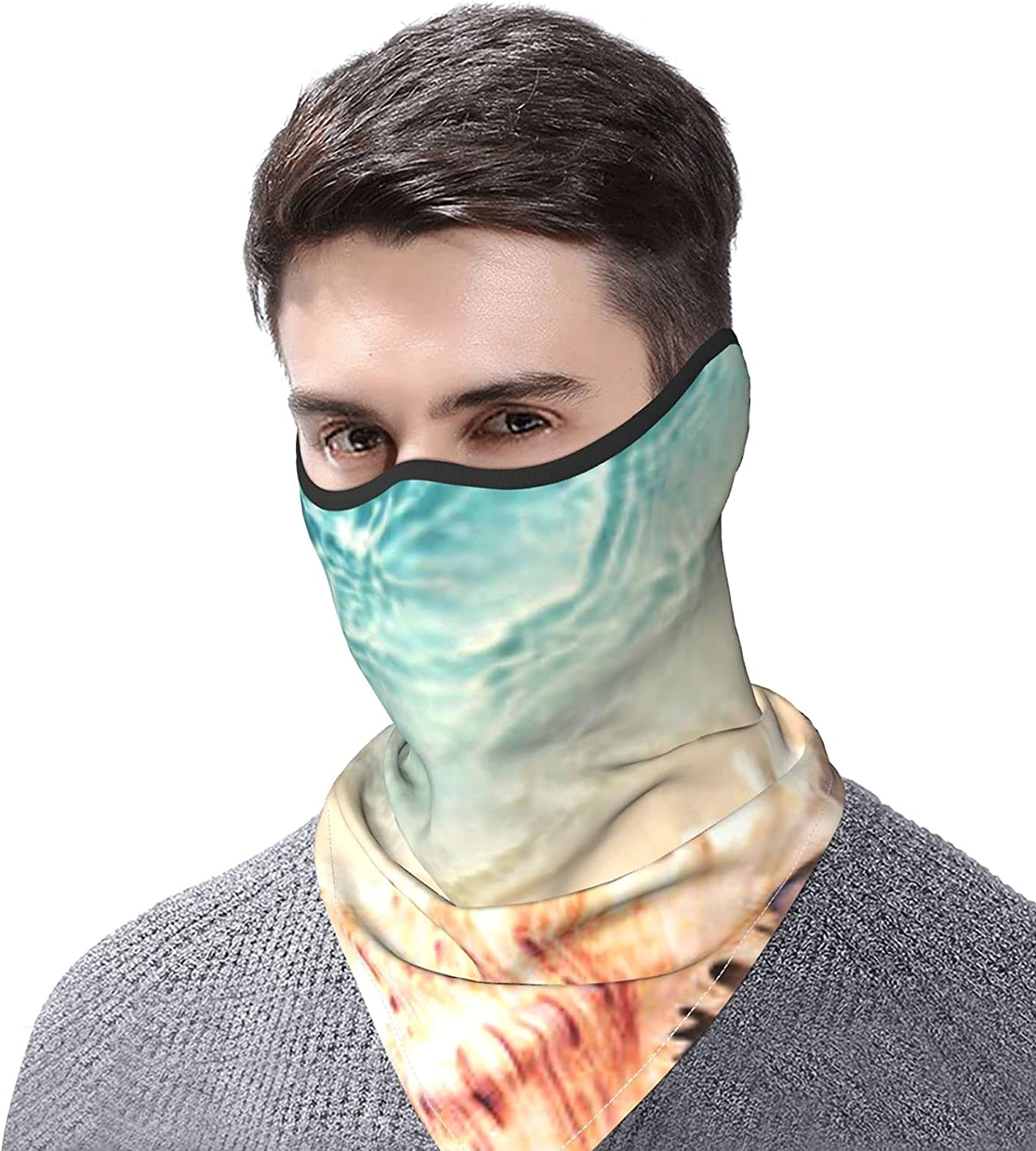 Sea Shells on Blue Wooden and Sand Breathable Bandana Face Mask Neck Gaiter Windproof Sports Mask Scarf Headwear for Men Women Outdoor Hiking Cycling Running Motorcycling