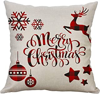 Unionm 90# Pillow Covers Christmas Decor Throw Pillow Case Flax White Beige Simple Reindeer Snowmen Merry Christmas Square 45 x 45 cm 18 x 18 inch Cushion Cover for Home Sofa Car 1 Pack - 2