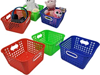"Storage Baskets, Square Bin Trays, 9.75"" x 5"" w/Built in Handle Great Organizer for Toys, Bathroom, Closet or Classroom (3..."