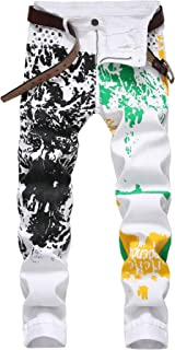 Colorful Paint Men's Jeans Stretch Slim Fit Straight White Jeans Pants for Men