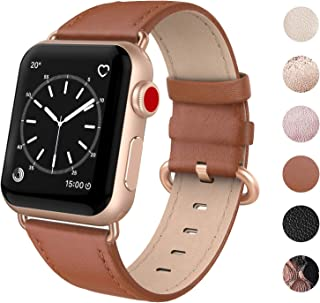 SWEES Leather Band Compatible for iWatch 38mm 40mm, Genuine Leather Replacement Strap Rose Gold Buckle Compatible iWatch Series 5 4 3 2 1, Sports & Edition Women Rose Gold