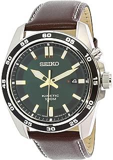 Seiko Men's SKA791 Silver Leather Kinetic Fashion Watch