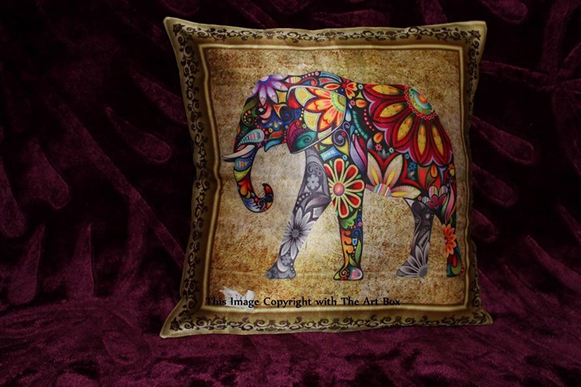 Cotton Set of Two 16 x 16 Cushion Cover Elephant Home Decor Indian Handmade Pillow Cases Set of 2 Cushion Covers By Art Box Store