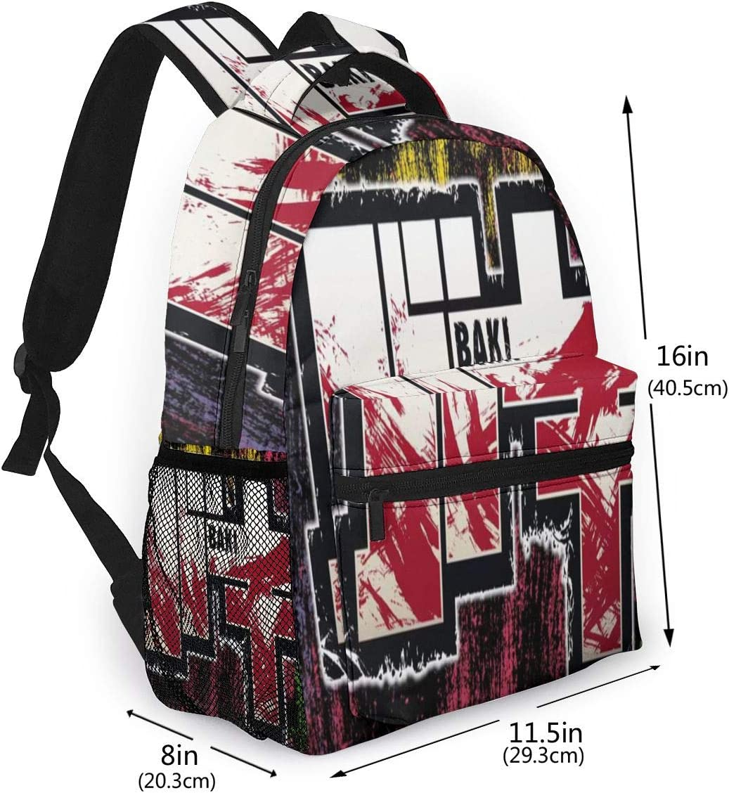 PrinceWu Baki The Grappler Backpack Large Casual Backpack for Youth