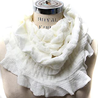 Solid Color Ruffled Edges Small Infinity Elastic Scarf Capelet
