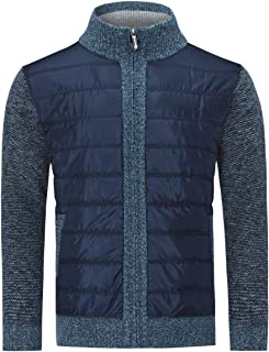 Mens Full Zip Knitted Cardigan Casual Fleece-Lined Slim Fit Jacket Stand Collar Classic Long Sleeve Knitwear Outerwear