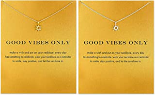Hundred River Friendship Clover Necklace Unicorn Good Luck Elephant Necklace with Message Card Gift Card(2&3pack) (Gold Sun and Sliver Sun)