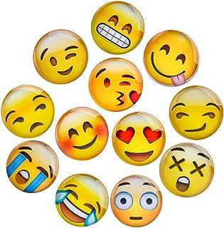 Lesfit Aimant Emoji, 12 Pièce 3D Verre Smiley Aimant Réfrigérateur à Forte Adhérence pour Décorer Frigos, Tableau Blanc, C...