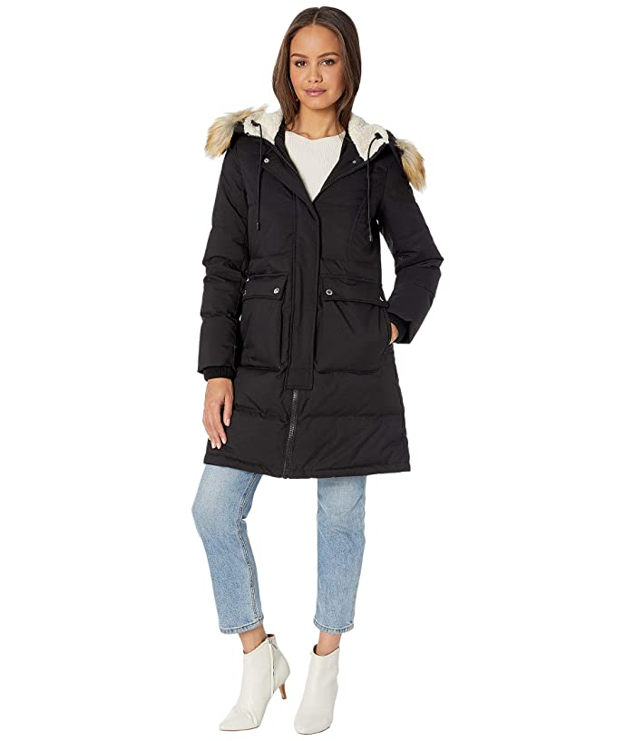 Sam Edelman  3/4 Parka with Patch Pockets (Black) Womens Coat