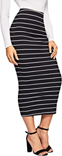 Women's Casual Ribbed Knit Letter Print Waist Striped Bodycon Pencil Midi Skirt