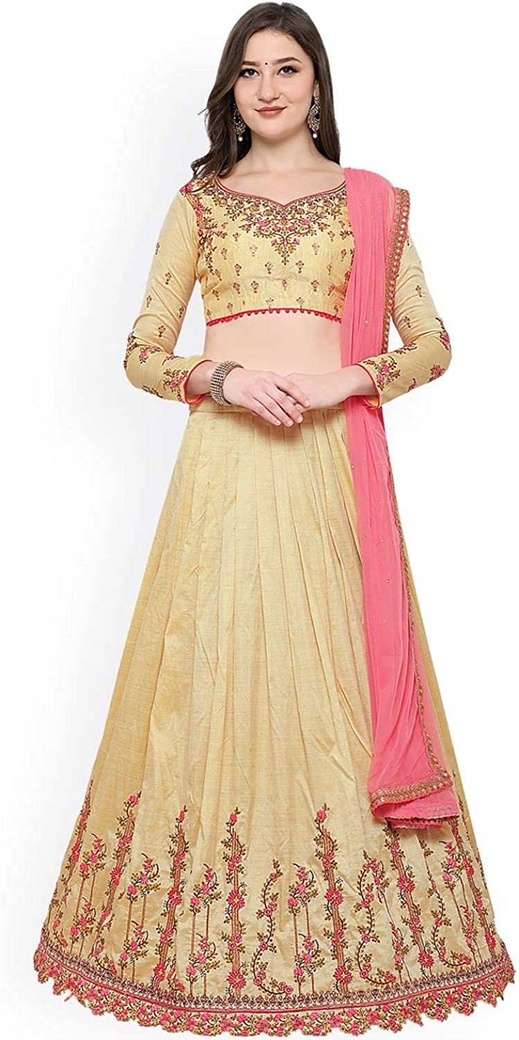 Generic WOMN Beige & Pink Embroidered SemiStitched Lehenga & Unstitched Blouse with Dupatta