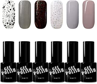 KADS Kit Uñas de Gel Esmalte Semipermanente de Color 6pcs Laca Soak Off Top Coat Base Coat UV LED Manicura Arte 9.5ml
