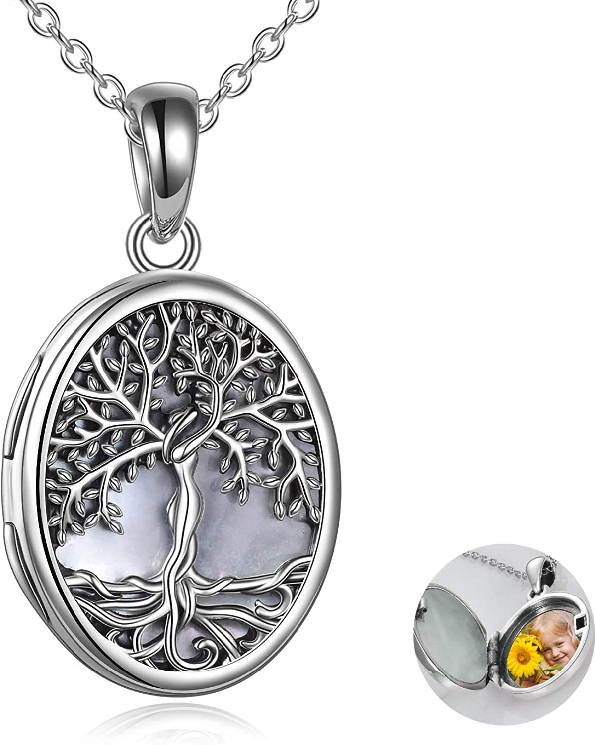 Max 40% OFF YFN Locket Necklace That Holds Pictures Sterling Silver of National products Tree