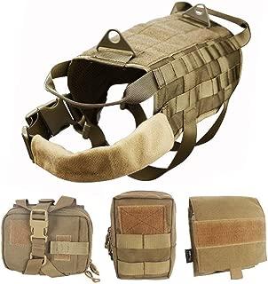 WOpet Tactical Dog Molle Vest Harness Training Dog Vest with Detachable Pouches (L)