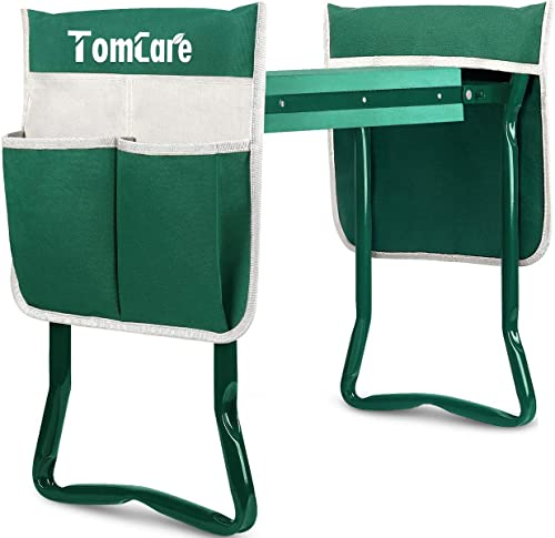 TomCare Upgraded Garden Kneeler Seat Widen Soft Kneeling Pad Garden Tools Stools Garden Bench with 2 Large Tool Pouch...