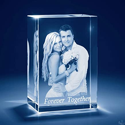 Presto Personalised 3D Laser Engraved Crystal Cube with LED Light Base
