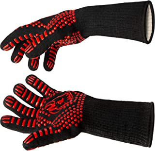Black Goat Grilling Premium Silicone BBQ Gloves and Grill Gloves - 13.5-Inch-Long Heat Resistant Gloves to Protect Hands and Forearms from Extreme Heat on The Barbeque or in The Kitchen