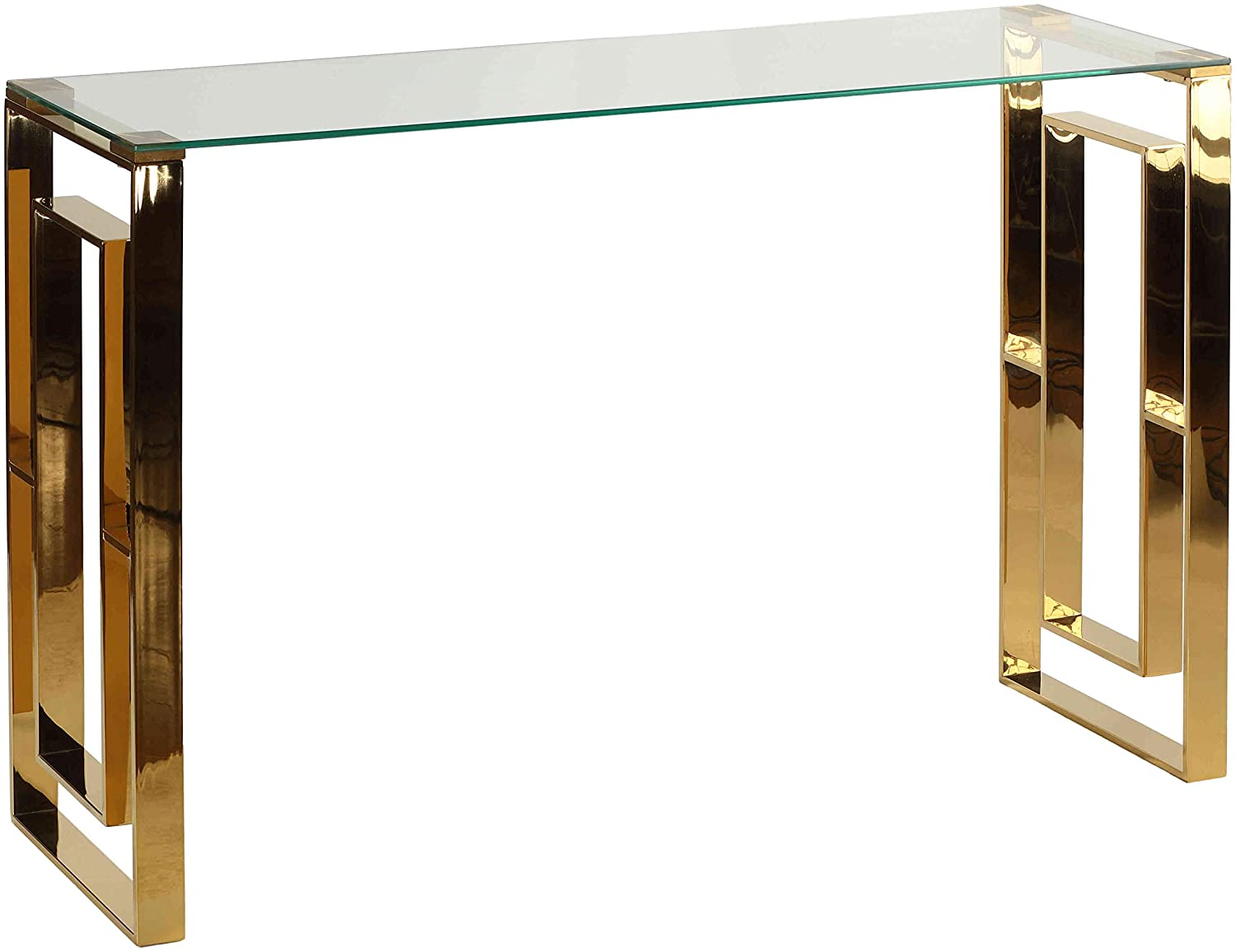 Cortesi Home Laila Console Table in Gold Stainless Steel and Clear Glass, 47