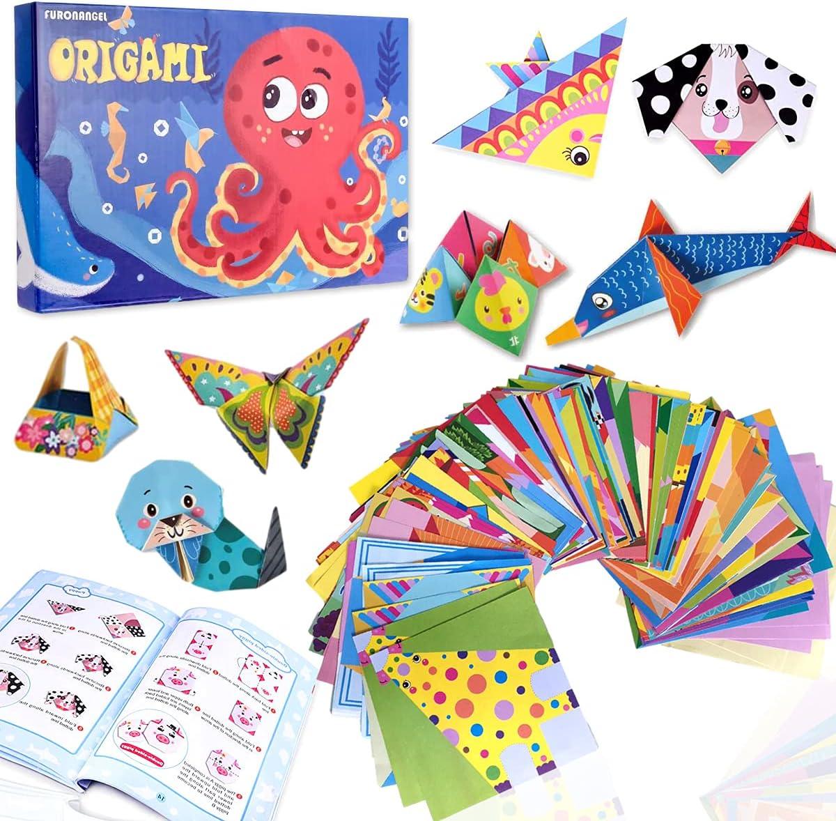 Color Kit de Origami para Niños,14 X 14cm, 152 Archivo de Origami Vívido de Doble Cara Que Enseña Libro de Origami,para Niños, Principiantes Y Clases de Manualidades Escolares