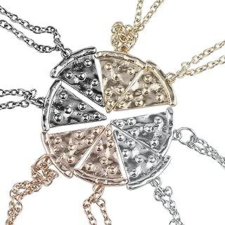 Lux Accessories Multi Metal Pizza Pie Slice Best Friends BFF Necklace Set 8PC