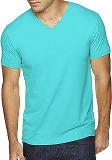 Men's premium cotton / suede blend v-neck t-shirt. (Tahiti Blue) (Large)
