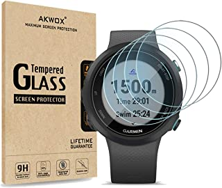 [4-Pack] Akwox Tempered Glass Screen Protector for Garmin Swim 2 Watch, [2.5D Arc Edges High Definition 9H Hardness] Anti-...