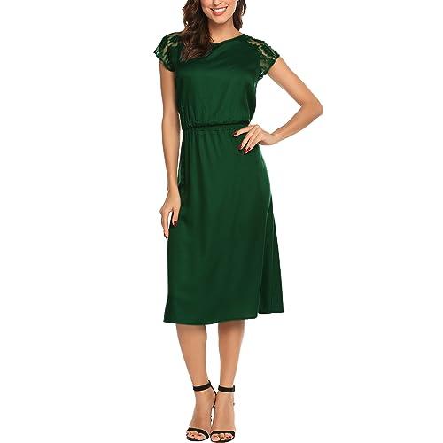 07a33af26385 SE MIU Women Lace Patchwork Midi Dress O Neckline Short Sleeves Casual Long  Dresses Summer