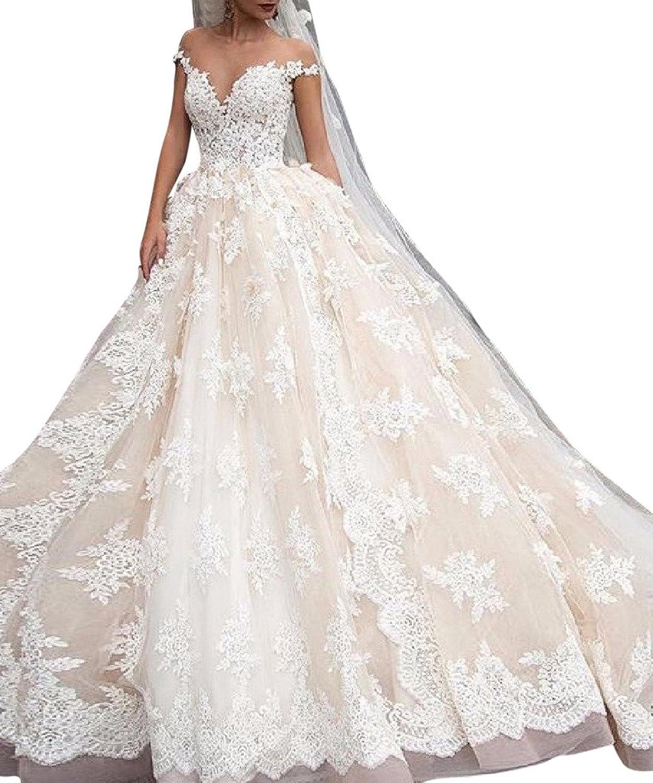 JoyVany Luxury Lace Ball Gown Wedding Dresses Cap Sleeves Princess Weddingdress