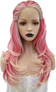 Anogol Hair Cap+Pink Blonde Ombre Lace Front Wigs with Free Part Synthetic Fiber Wavy Two Tones Blond Wig Long with Widow Peak Natural Hairline Synthetic Platinum Wigs for White Women with 24 Inches