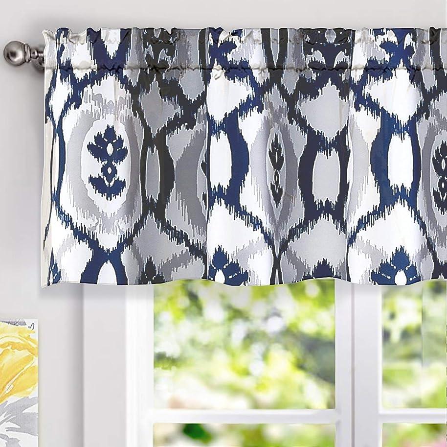 DriftAway Evelyn Ikat Fleur/Floral Pattern Window Curtain Valance, 52