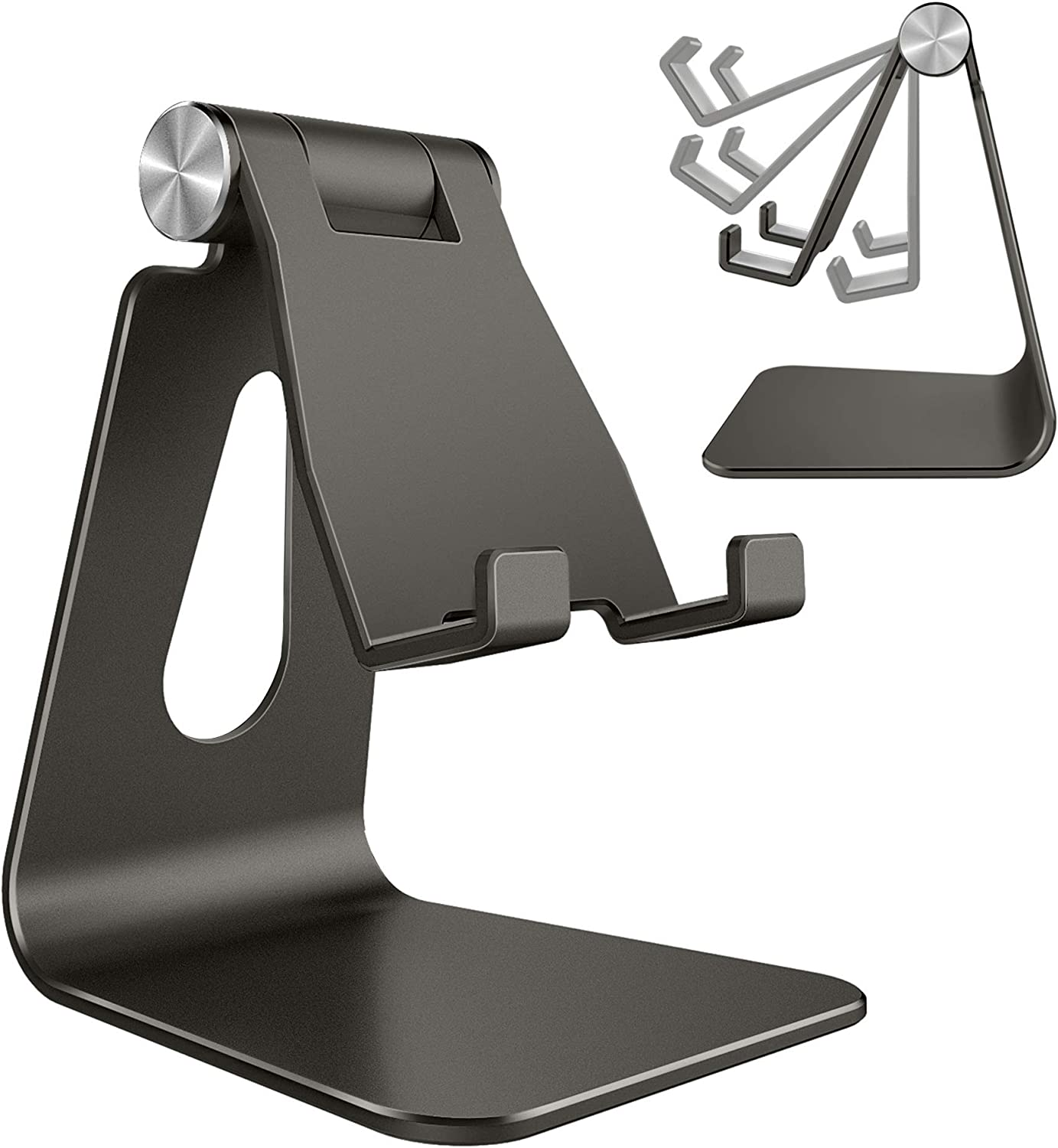 Adjustable Cell Phone Stand, CreaDream Phone Stand, Cradle, Dock, Holder, Aluminum Desktop Stand Compatible with iPhone Xs Max Xr 8 7 6 6s Plus 5s Charging, Accessories Desk,All Smart Phone-Graphite