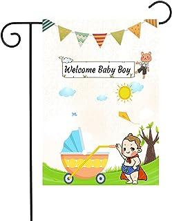 "Chien-Min666 Welcome Baby Boy Garden Flags Gender Reveal Outdoor Decorative House Yard Flag 12"" W x 18"" H (White)"