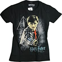 Harry Potter and The Deathly Hallows Harry Holding Wand Juniors Girls T-Shirt (Large) Black