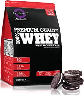 Pure Product Australia Whey Protein Isolate, 1- kilogram, Cookies and Cream 1 kilograms