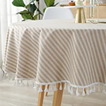 ColorBird Stripe Tassel Tablecloth Cotton Linen Dust-Proof Table Cover for Kitchen Dinning Tabletop Decoration (Round, 60 Inch, Beige)