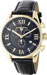 Swiss Legend Men's Belleza Analog Swiss Quartz Watch Gold Stainless Steel with Black Leather Strap 22011-YG-01-BLK