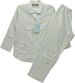 Mサイズ(春夏)婦人長袖・長パンツパジャマ(アムール) 綿100%2重ガーゼ生地 襟/前あき全開(日本製)