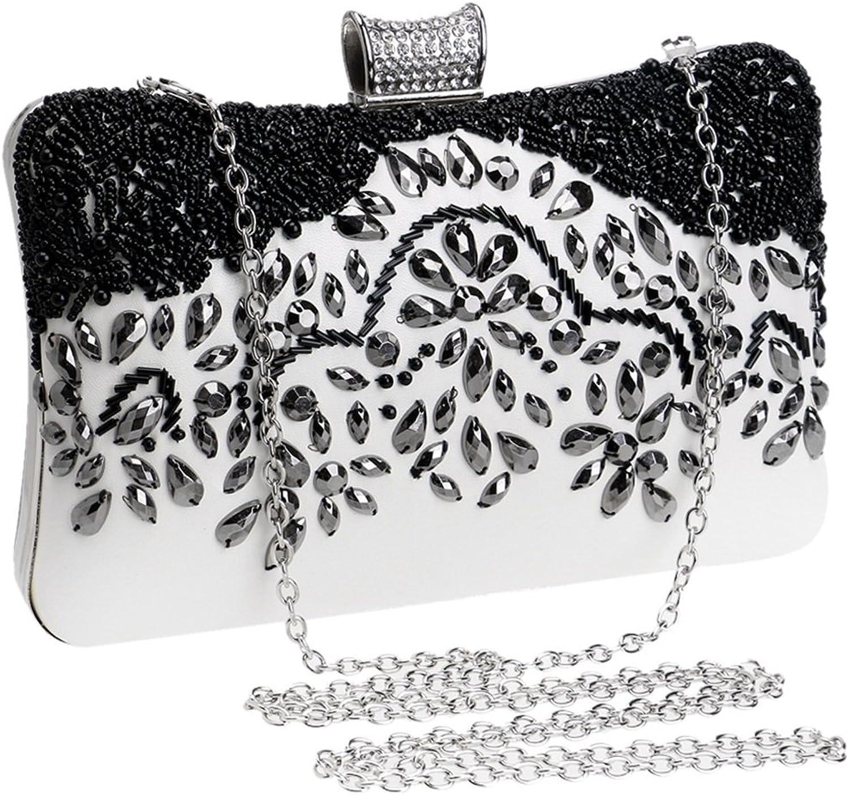 HOUYAZHAN Damen Clutch Luxus Handmade Handmade Handmade Perlen Abendtasche Handtasche Crossbody Handtasche (Farbe   schwarz and Weiß) B07MB1CJ8C  Elegantes und robustes Menü 54ccc4