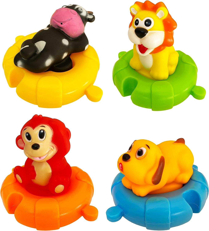 Juguetes de Baño con Forma de Animales para Bebés y Niños  Set de 4 Animales Marinos de Juguete Coloridos para La Bañera-Piscina-Playa   Ideal Juguete de Baño Bebé con Rompecabezas