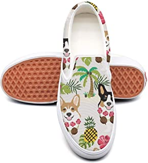 Hawaiian Tropical Summer Corgis Pineapple Palm White Plimsolls Men Spring Shock Absorption Best Running Shoes