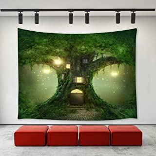 LBKT Mystic Fairy Tale Tree Tapestry Wall Hanging Mysterious Fairytale Forest Tree House Mystical Lights Wood House Tapestry Wall Decor Art Tapestries Bedroom Living Room College Dorm 90