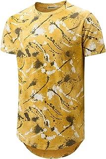 KLEGOU Mens Hip Hop Tie-Dye Hipster Curved Hem T Shirt
