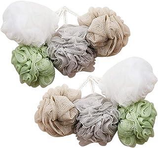 TOPBATHY 8pcs Shower Pouf Ball Soft Bath Mesh Pouf Body Exfoliating Scrubber Sponges Bathroom Accessories for Bathroom Shower Massaging(White+Grey+Khaki+Green)