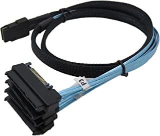 CABLEDECONN Mini SAS 36 SFF-8087 to (4) SFF-8482 Connectors with SATA Power 1m